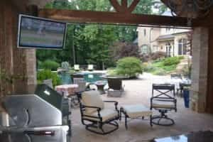 Automated outdoor lighting audio home theater
